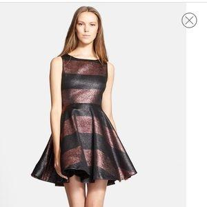 'Foss' Metallic Stripe Fit & Flare Dress